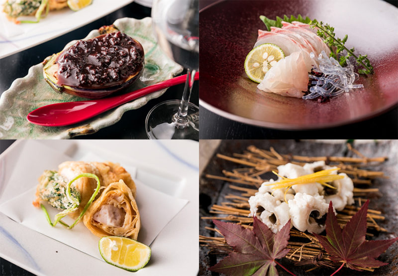 刺身等の料理4品が写った画像です。